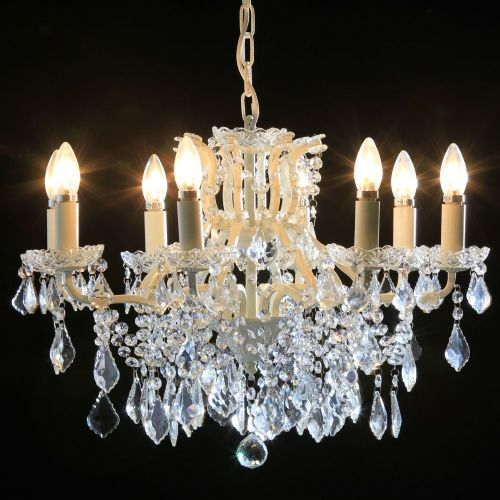 Antique French Cut Glass Crackle White Chandelier 8 arms